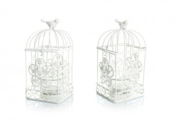 Garden bird cage shaped candle holders isolated on white background stock vector