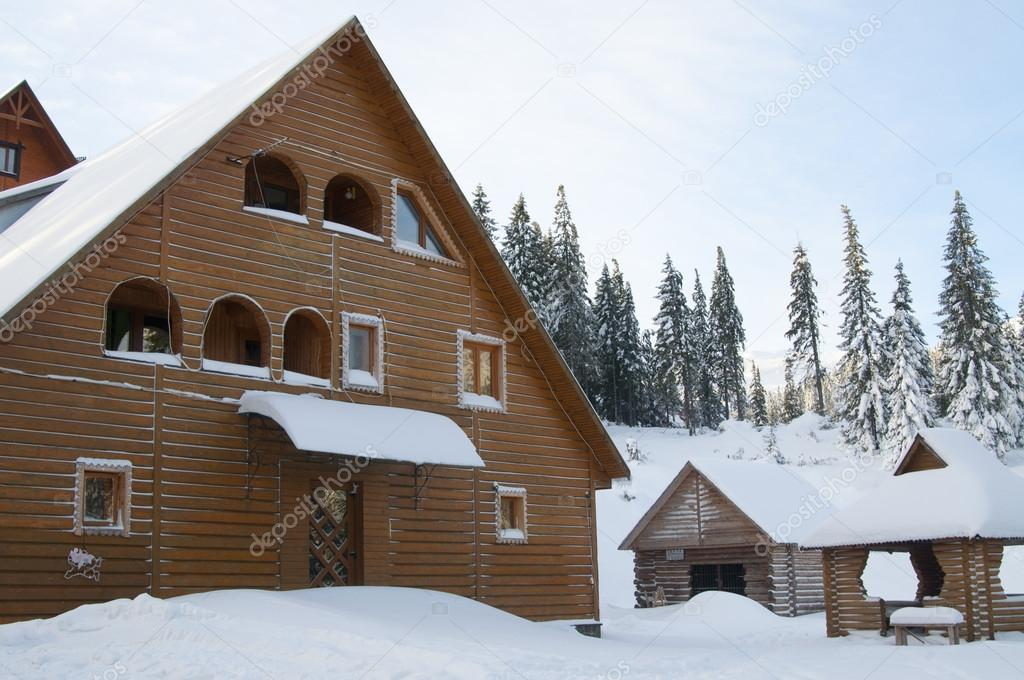 House on resort in winter mountains