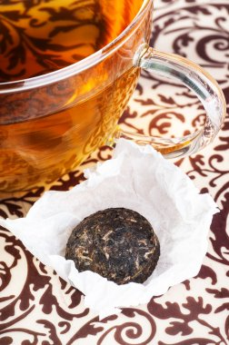 Close up of cup with pu-erh tea