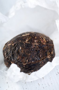Black pu-erh tea brick