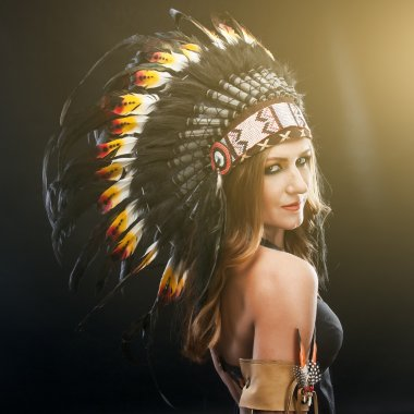Portrait of beautiful caucasian woman in traditional Indian headdress stock vector