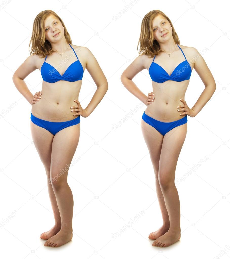 9b8606e9d968 Antes y después de una dieta, chica en traje de baño — Foto de stock ...