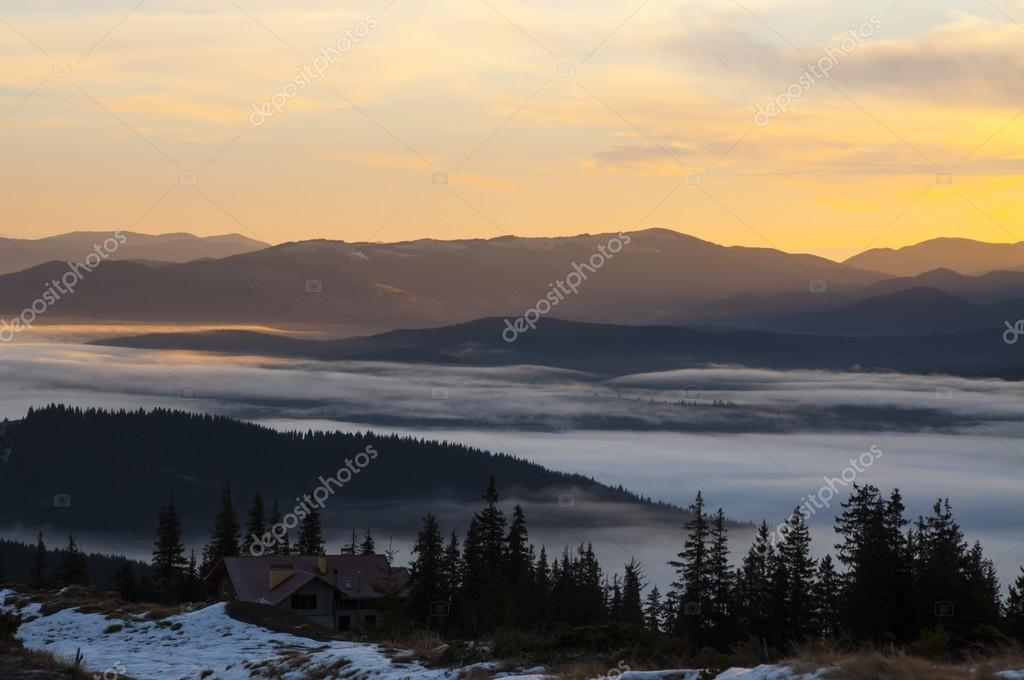 Фотообои autumn in Carpathian Mountains. Misty landscape