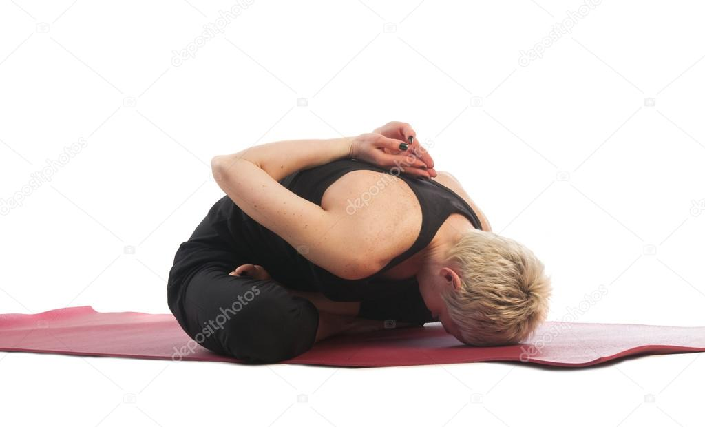 Woman In Modificated Yoga Mudrasana Pose Stock Photo C Nanka Photo 87927832