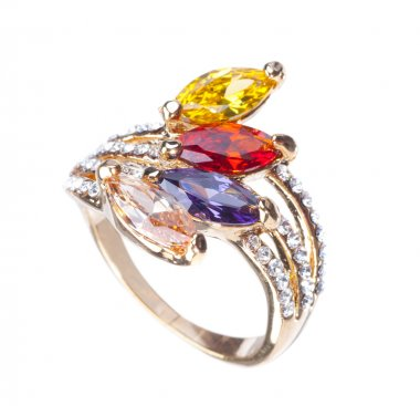 golden ring with color gemstones