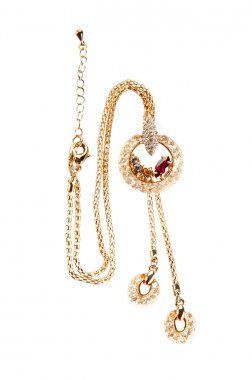 Gold pendant with colorful gemstones on chain