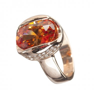 golden ring with amber gemstone