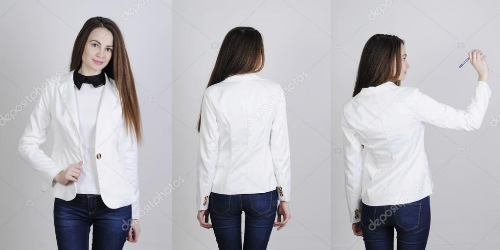 uk availability ac91e 4b0ca Donna che indossa giacca e jeans — Foto Stock © nanka-photo ...