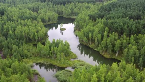 Letecký pohled na lesní jezero s malým ostrůvkem.