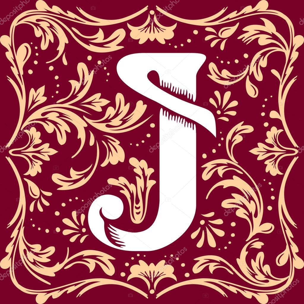 old vintage letter J — Stock Vector © print2d
