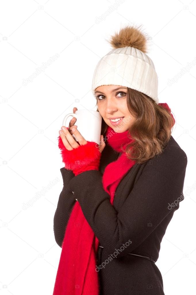 579f5ef57743 Girl with cup of tea in Santa Hat — Stock Photo © gsdonlin  94100086