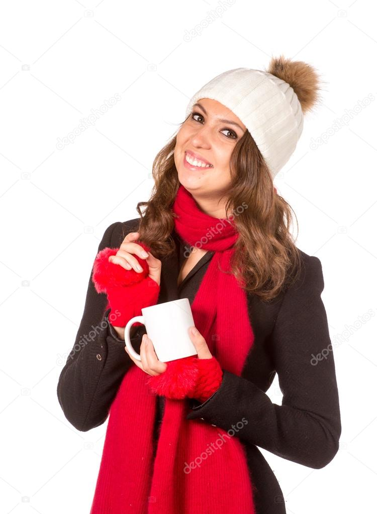 ece19830a4b1 Girl with cup of tea in Santa Hat — Stock Photo © gsdonlin  94100092