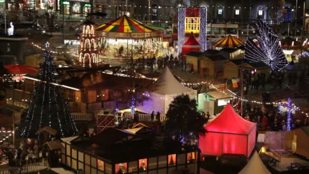 Christmas Market at night. Areal view, Detail