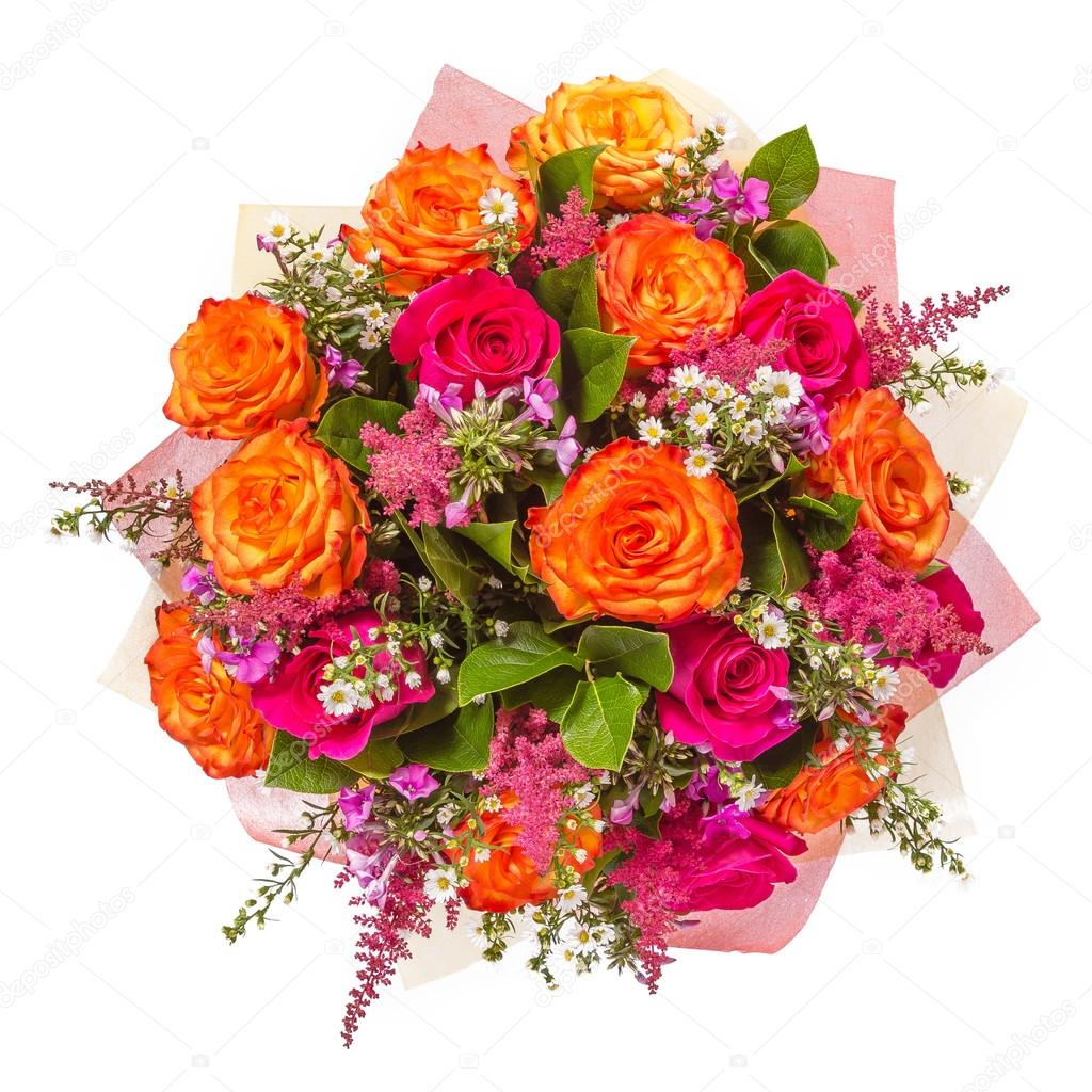 Bouquet of flowers top view isolated on white stock photo bouquet of flowers top view isolated on white stock photo izmirmasajfo