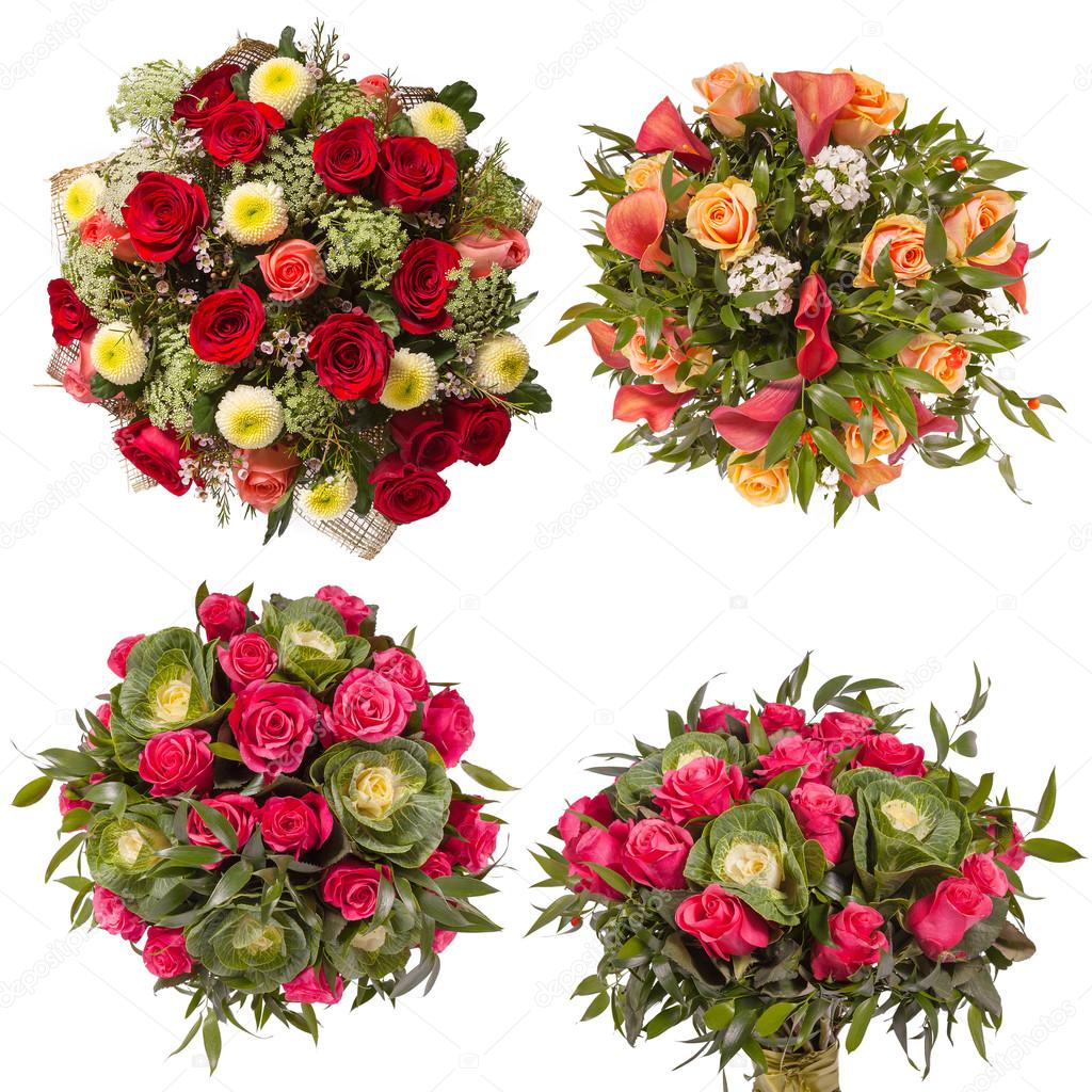 Top view of four colorful flower bouquets — Stock Photo © gilmanshin ...
