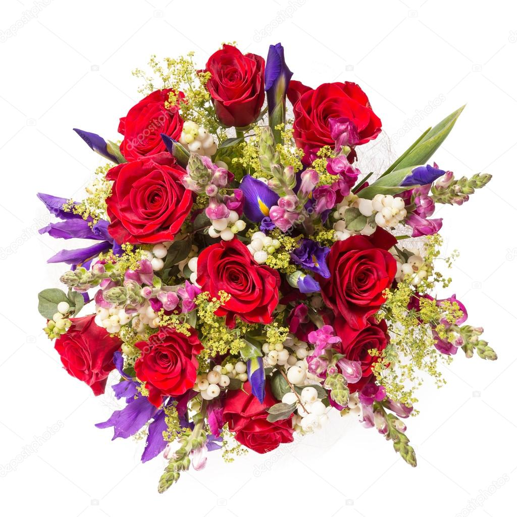 Bouquet Of Flowers Top View Isolated On White Stock Photo