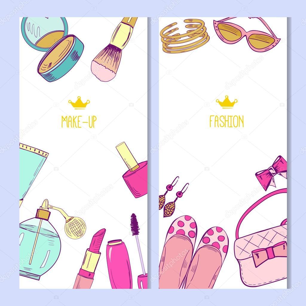 Plantillas de tarjetas de moda y cosméticos — Vector de stock ...
