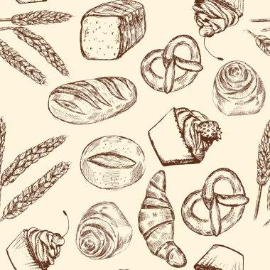 Hand drawn seamless bakery pattern