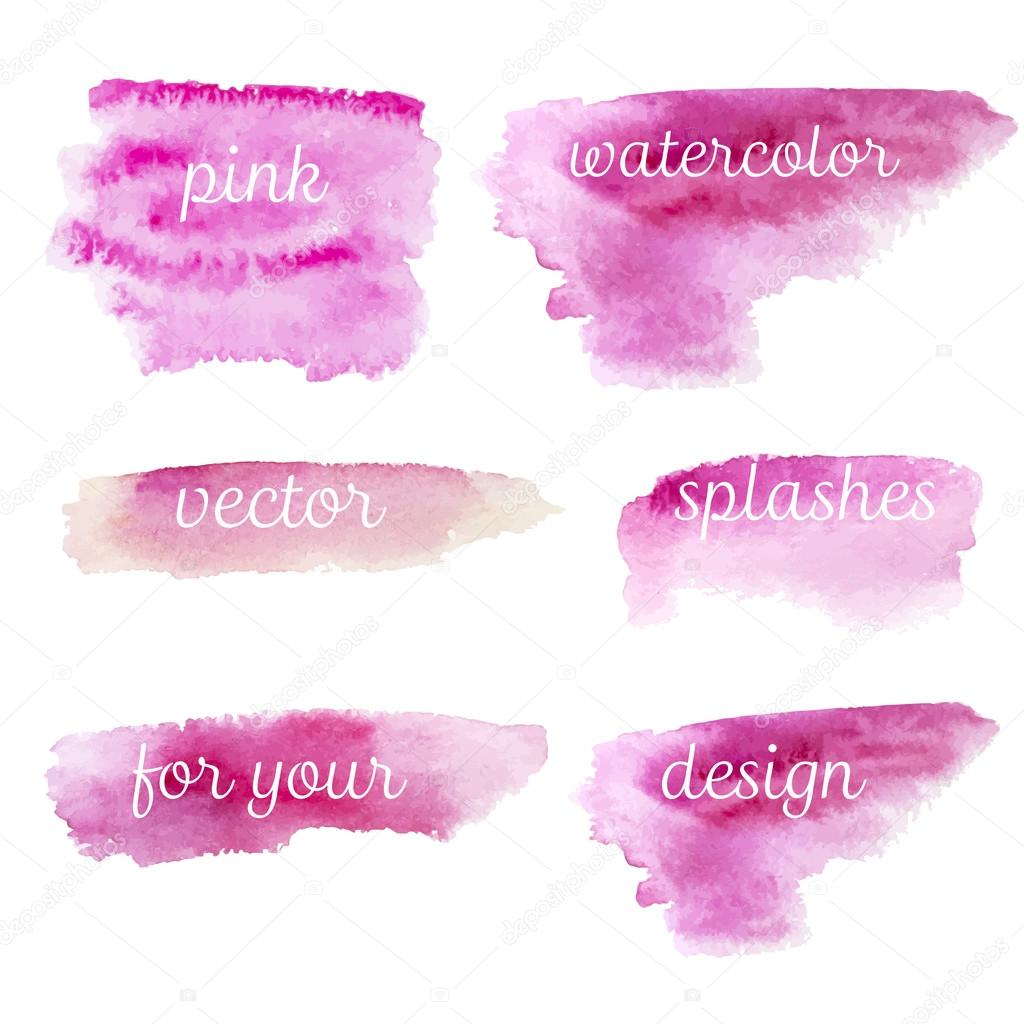 Pink watercolor splashes