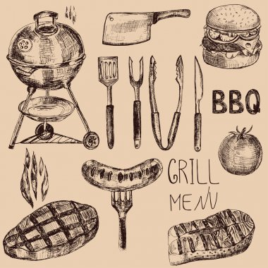 Hand drawn barbeque set