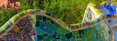 mosaic at the Parc Guell Barcelona Spain