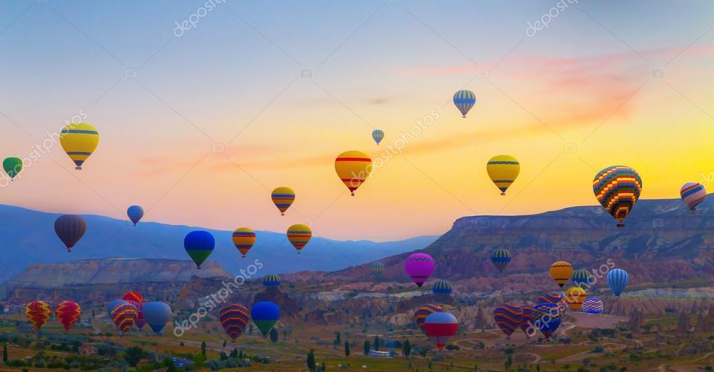 Hot air balloons sunset Cappadocia, Turkey