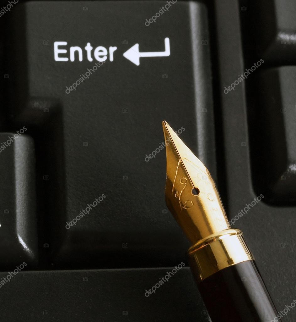 Pen in computer keyboard