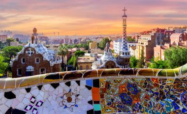 sunrise Barcelona Gaudi bench mosaic
