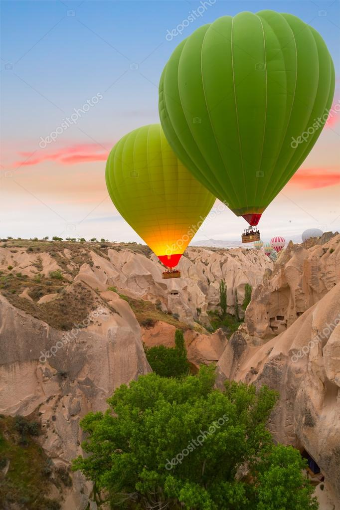 Hot air balloons sunset,