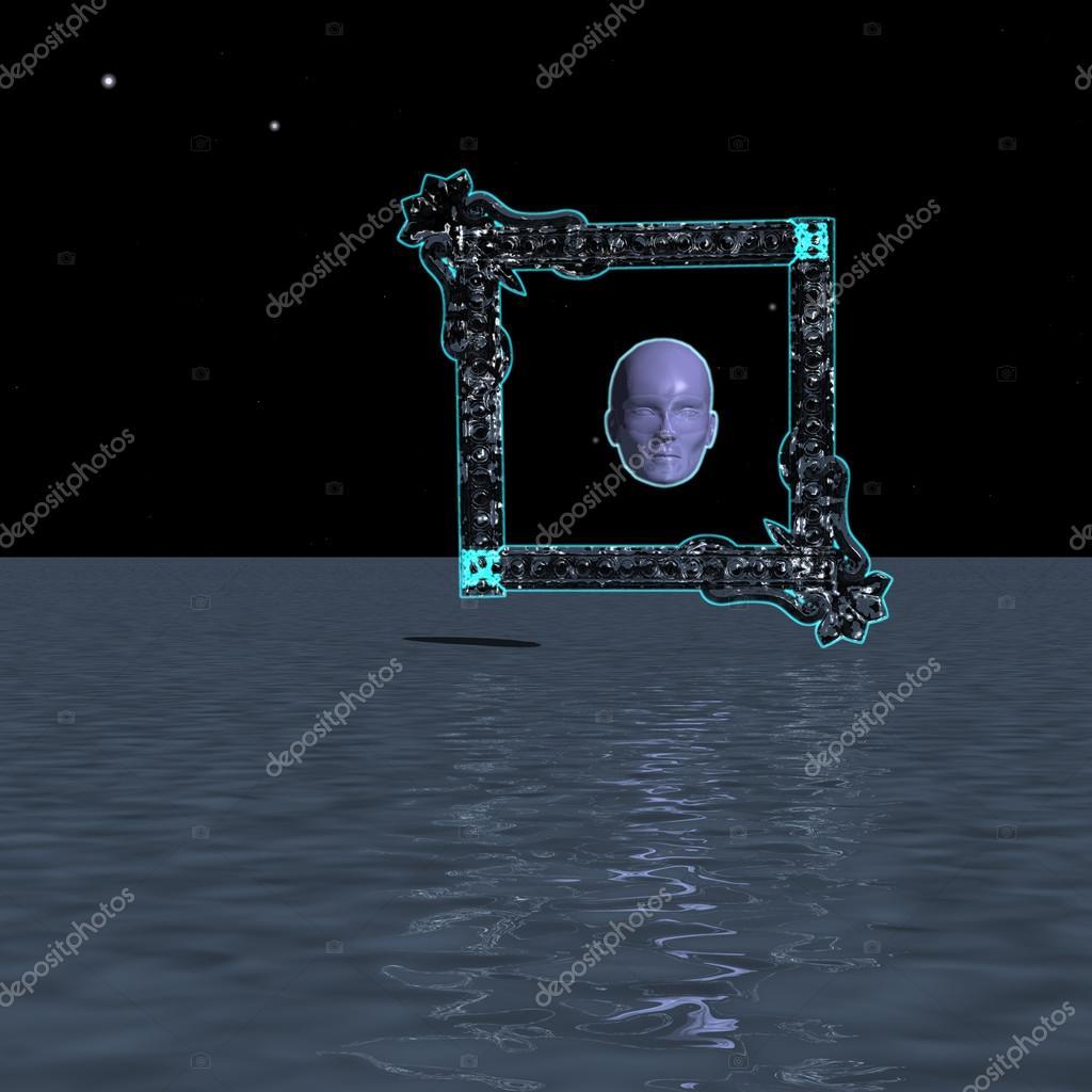 Misteriosa cabeza enmarcada sobre el océano — Foto de stock ...