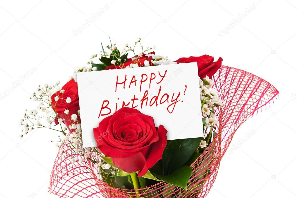 Roses bouquet and card Happy Birthday — Stock Photo © Violin #53563945