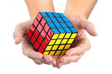 Cube puzzle in hands