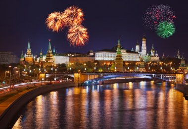 Fireworks over Kremlin in Moscow