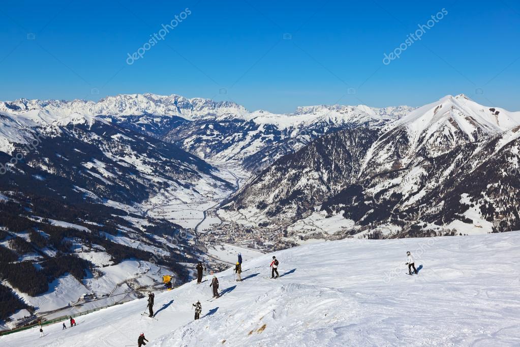 Skiers at mountains ski resort Bad Gastein Austria
