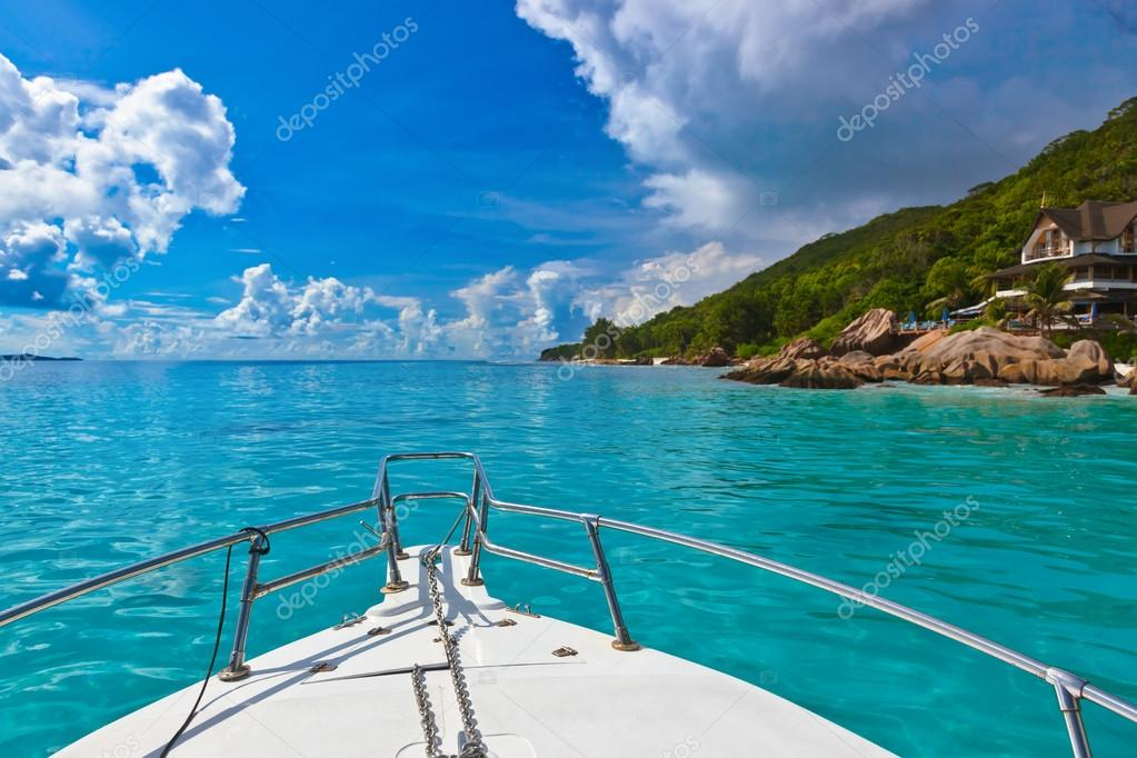 Tropical island and boat on Seychelles
