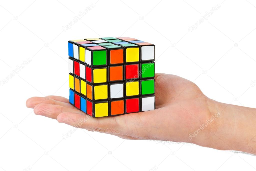 Cube puzzle in hand