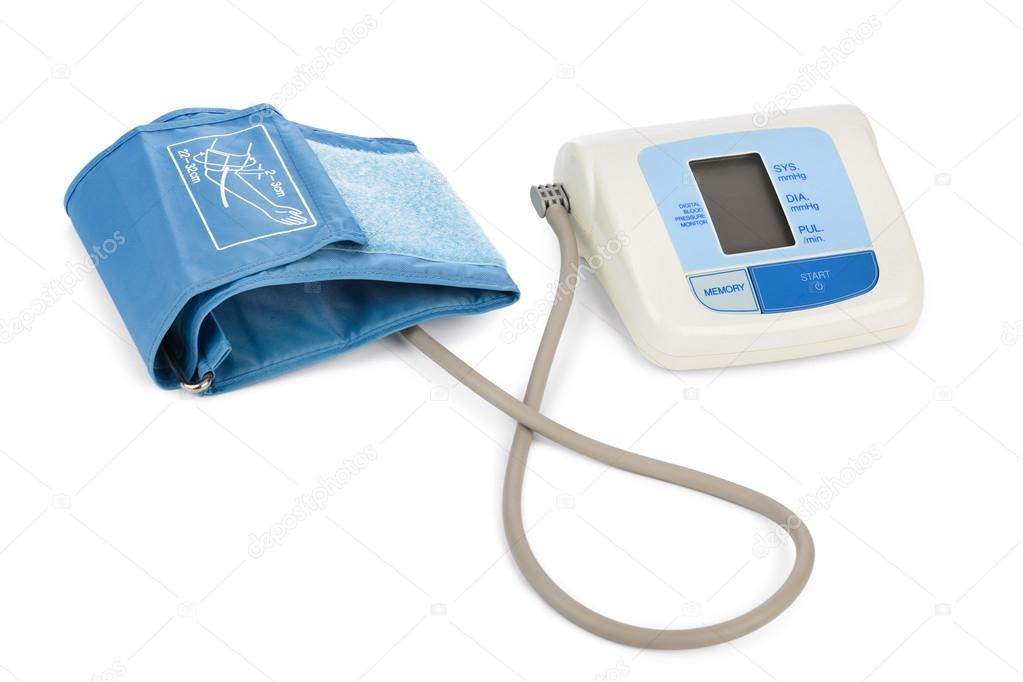 aaac2c55cd05a Aparato para medir la presión arterial aislada sobre fondo blanco — Foto de  ...