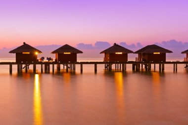 Water bungalows on Maldives island