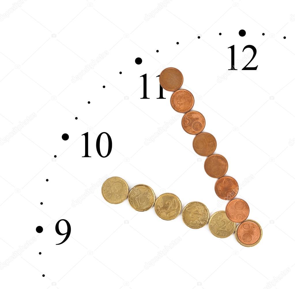 Uhr Geld Münzen Hergestellt Stockfoto Violin 77900762