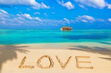 Word Love on beach