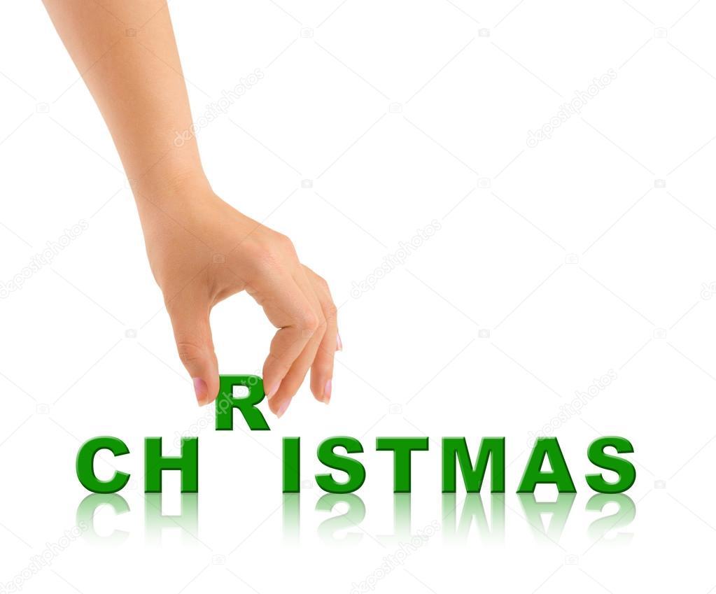 Hand und Wort Weihnachten — Stockfoto © Violin #89318188