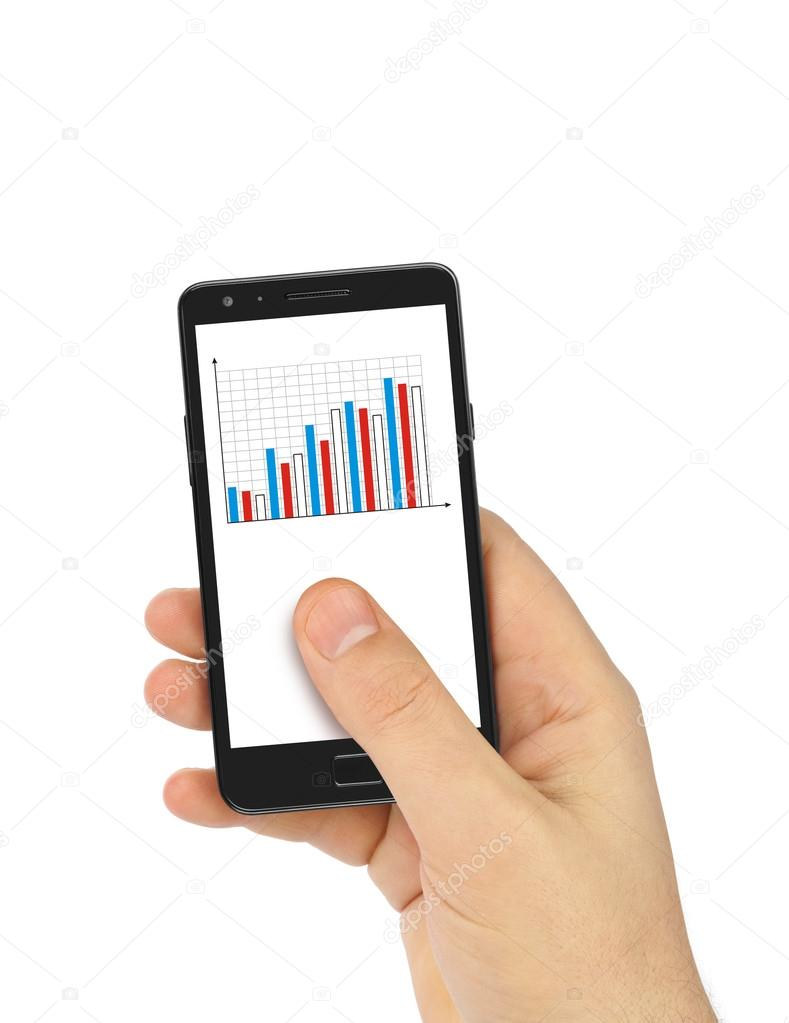 Hand With Smartphone And Business Diagram Stock Photo C Violin