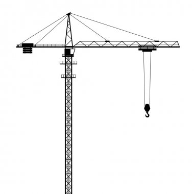 Tower crane vector shape isolated on white background.