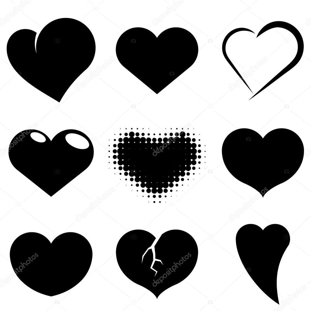 Forma De Corazón Blanco Y Negro Vector Set Archivo Imágenes