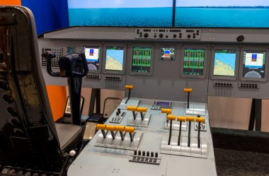 Lateral view of cockpit in flight simulator
