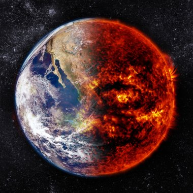 Earth in space and one part is burning