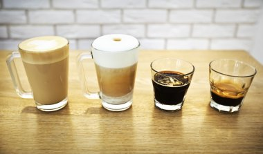 Collection of coffee in glass cups