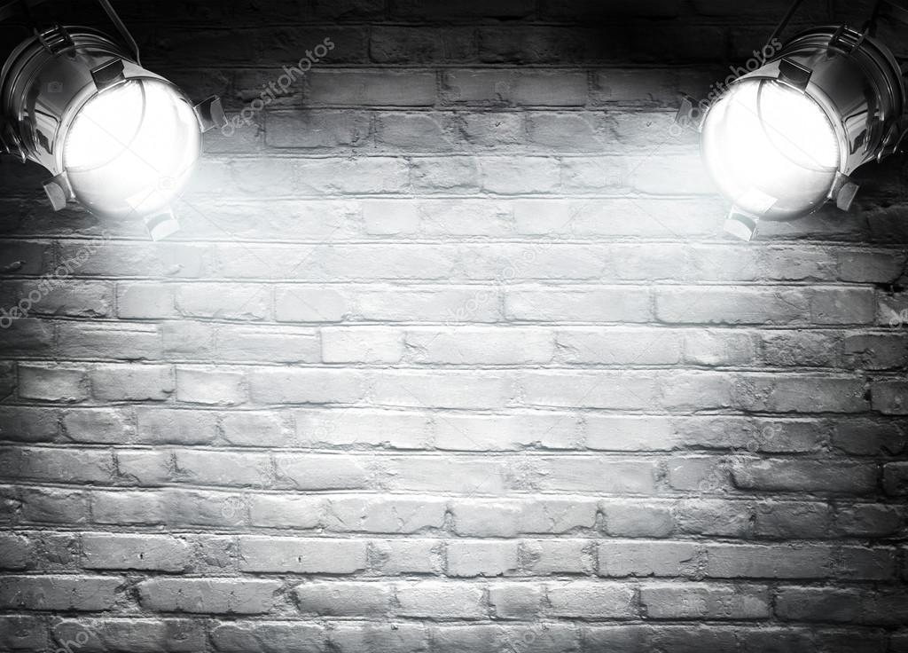Brick Wall Background With Spotlights Photo By Olegkalina
