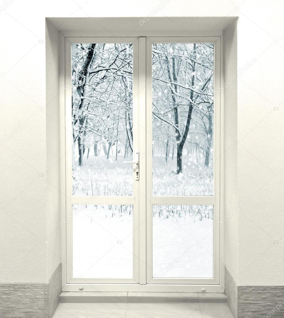 Winter forest and closed white door