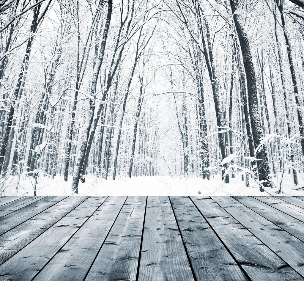 Wooden background with winter forest